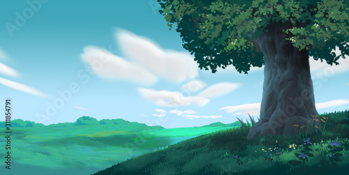Anime Style Environment Background, Cartoon Illustration Cover - 311854791