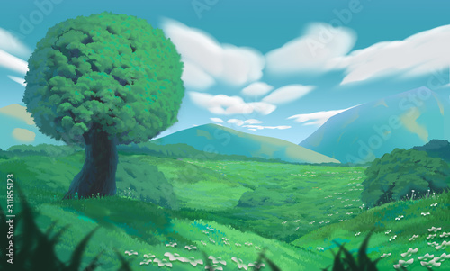Anime Style Environment Background, Digital Artwork Illustration - 311855123