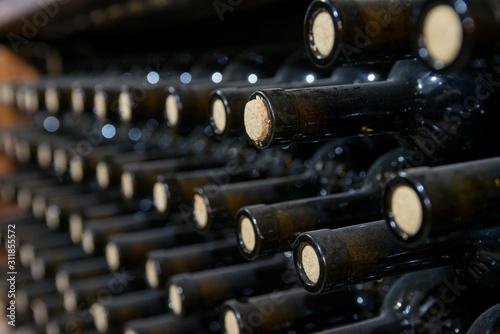 dusty wine bottles on a wooden shelf in a wine cellar Canvas Print