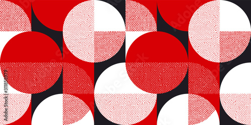 Papel de parede Red and black bauhaus style seamless pattern