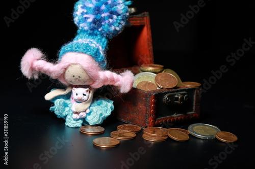 Fotografia, Obraz chest with coins on a dark background