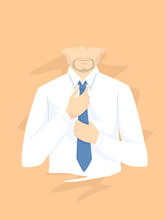 Man Wearing Necktie Illustration