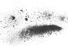 Black Charcoal Dust Explosion, Gunpowder Isolated On White Background And Texture, Top View
