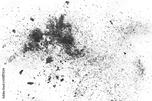 Photo Black charcoal dust explosion, gunpowder isolated on white background and textur