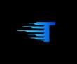 Fast T Letter Digital Data Logo Icon, Fast Hi-tech T Design Concept.