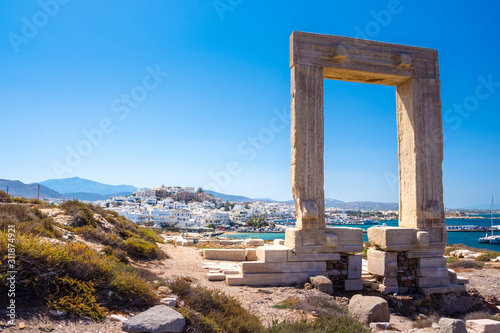 Portara - ruins of ancient temple of Delian Apollo on Naxos island, Cyclades, Gr Wallpaper Mural