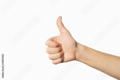 Obraz like gesture on white background. thumb up - fototapety do salonu