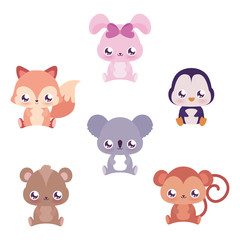 Cute kawaii animals cartoons vector design