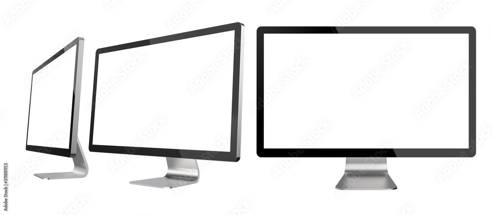 Fototapeta Set of Different Angles of Empty PC Monitors Isolated on White Background. Realistic 3D Illustration of Modern Sleek Screens.