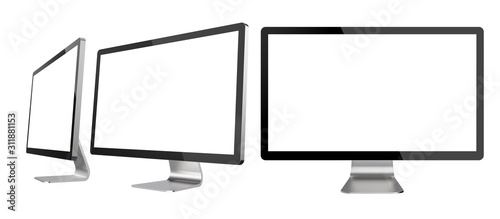 Foto Set of Different Angles of Empty PC Monitors Isolated on White Background