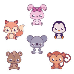 Kawaii animals cartoons vector design