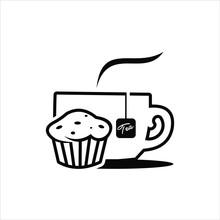 Outline Tea Logo And Dessert Vector Illustration. Food And Drink Template. Sticker Or Print Art Design Inspiration