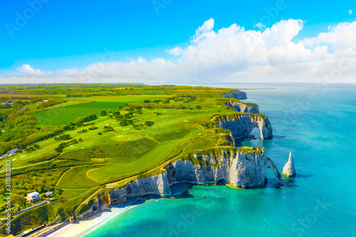 Picturesque panoramic landscape on the cliffs of Etretat Canvas Print