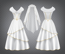 White Wedding Woman Dress With...