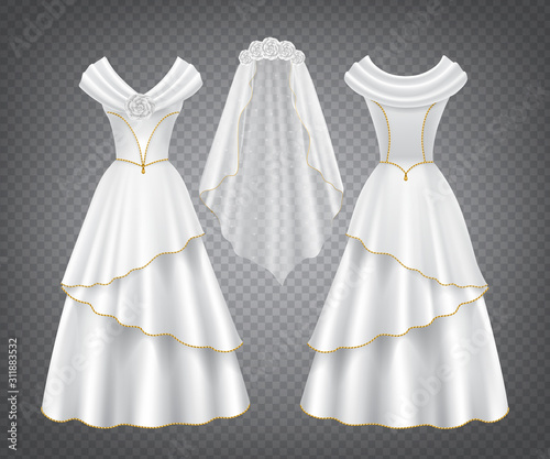 White wedding woman dress with tulle veil decorated by flowers and golden stitching Fototapet