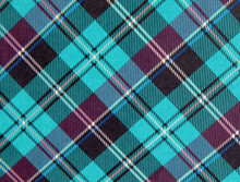 Plaid Background Pattern In Turquoise And Purple With Black, White And Blue