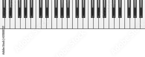 obraz dibond piano keyboard close up on white background