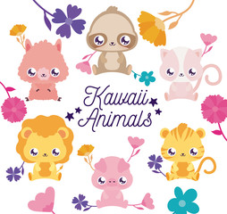Kawaii animals cartoons and flowers vector design