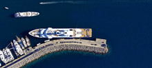 Aerial Drone Top Down Ultra Wide Photo Of Mediterranean Port With Yachts Docked