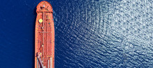 Aerial Drone Ultra Wide Photo Of Industrial Petrochemical Oil And Gas Fuel Tanker Ship Cruising Mediterranean Deep Blue Sea