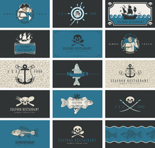 Vector Set Of Business Cards Or Banners For Seafood Restaurant With Pirate Symbols In Retro Style