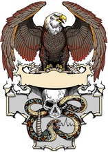 Eagle Sitting On The Human Skull Wrapped With Snake. Angry Dangerous Rattlesnake. Logo, Banner, Emblem With Ribbon Scroll. Tattoo, T-shirt Design Template. Graphic Style Vector Illustration