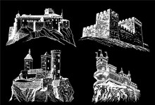 Graphical Set Of Castles Isolated On Black Background,vector Engraved Illustration