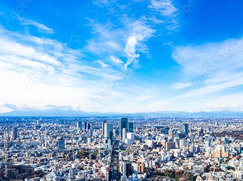東京 青空と都市風景(渋谷方面)