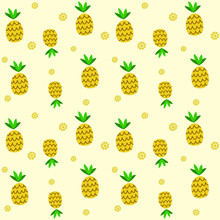 Vector Cartoon Abstract Pineapple Yellow Seamless Pattern