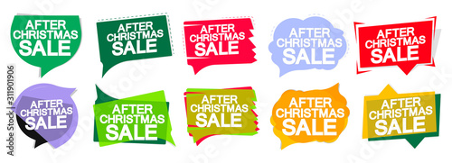 Obraz Set After Christmas Sale speech bubble banners design template, Xmas discount tags, special offers, vector illustration - fototapety do salonu