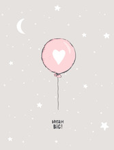 Cute Hand Drawn Pink Balloon Vector Illustration.Round Shape Blue Balloon With White Big Heart.Flying Air Balloon Isolated On A Light Gray Background. Lovely Nursery Art For Baby Girl Room Decoration.