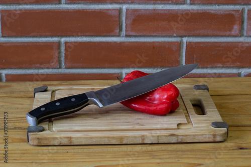 Photo morron con cuchillo