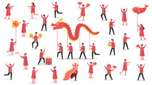 Concept Of Chinese New Year Holiday Celebration With Group Of Tiny People Together, Cartoon Character Vector Flat Illustration Design