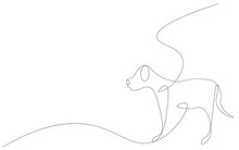 Dog One Line Drawing, Vector I...