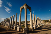 Colonade And Corner Pillars With Lintel Of Agora Ruins At Ancient Perge Archaeological Site Turkey