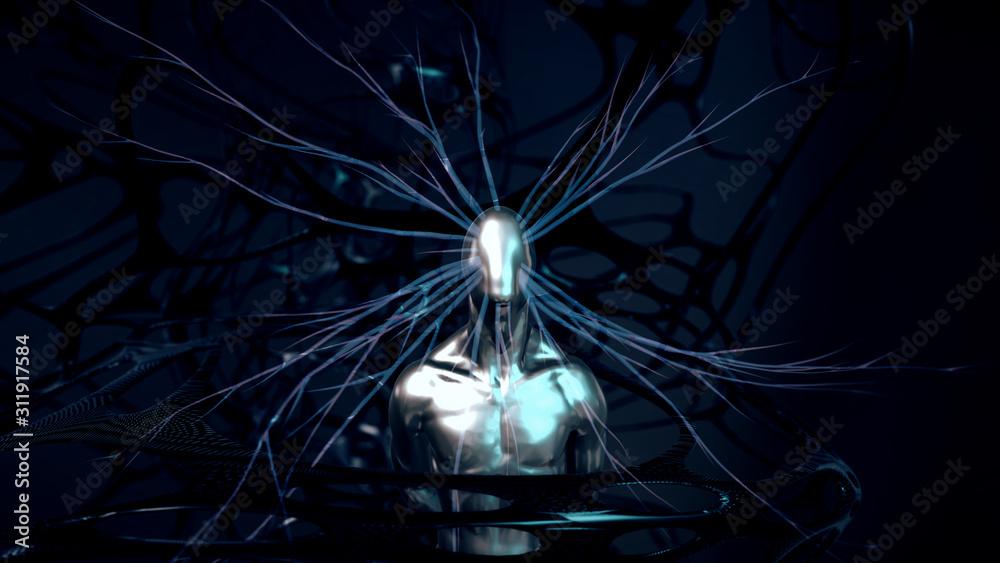 Fototapeta Abstract 3D Render | Künstliche Intelligenz und Bewusstsein