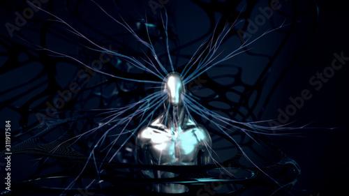 Abstract 3D Render   Künstliche Intelligenz und Bewusstsein Wallpaper Mural