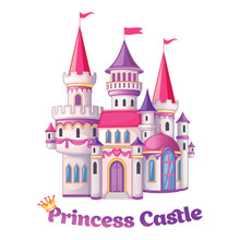 Beautiful Fairytale Castle For Princess, Magic Kingdom. Vintage Palace. Wonderland. Isolated Cartoon Illustration On A White Background For Stickers. Children's Theme. Romantic Story. Vector.