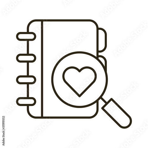 Photo happy valentines day magnifying glass with heart and diary
