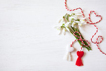 Bouquet Of Snowdrops And Red W...