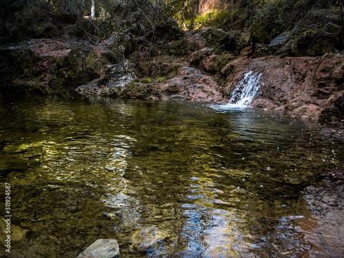 Río con cascada en bosques espñoles Canvas Print