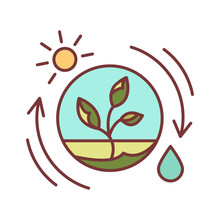 Competent Photosynthesis Color Line Icon. The Process By Which Green Plants And Certain Other Organisms Transform Light Energy Into Chemical Energy. Editable Stroke.