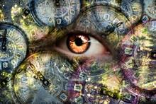 Eye Looking Through The Clock