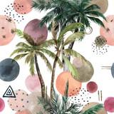Streszczenie tropikalny wzór z palmami. Akwarela bez szwu wydruku. Geometryczne lato tło - 311929127