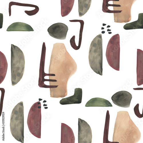 Modern seamless pattern with watercolor and geometric elements on white background. Abstract nordic print. Scandinavian style. Hand drawn illustration