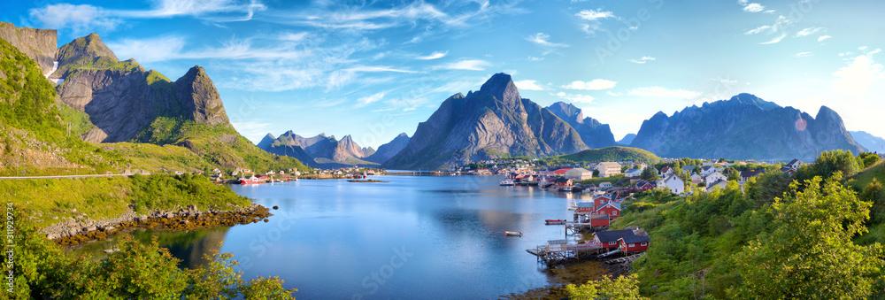 Fototapeta Panoramic view of Reine fishing village, Lofoten, Norway