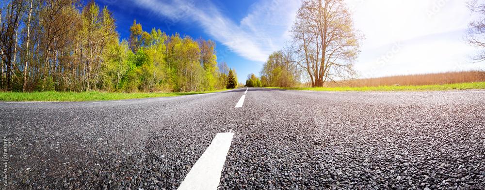 Fototapeta Road panorama background on sunny spring day