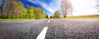 Road panorama background on sunny spring day