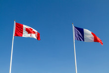 Vimy, France. 2019/9/14. Canadian And French Flags Flying Together At The Canadian National Vimy Memorial (First World War Memorial) On The Vimy Ridge Near The Town Of Arras.