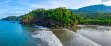Aerial Drone View Of A Tropical Paradise Beach. Playa Ventanas In Costa Rica